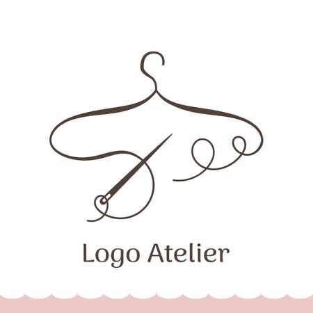 Logotipo para Atelier, boutique de bodas, tienda de ropa femenina. Plantilla de vector de la marca para el diseñador de moda. Elemento para costura y confección de Studio. Percha estilizada de hilo y aguja.
