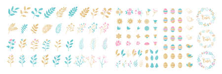 Set of Easter elements for typographic design. Wreaths, leaves, branches, berries, birds, flowers, eggs. Vector illustration in cartoon style.