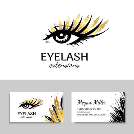 Branding for salon eyelash extension, shop cosmetic products, lash maker, stylist. Icon and business card. Makeup with Golden feathers.