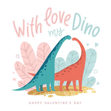 Vector illustration with dinosaurs in love in cartoon style. Valentines day greeting card. Ilustração