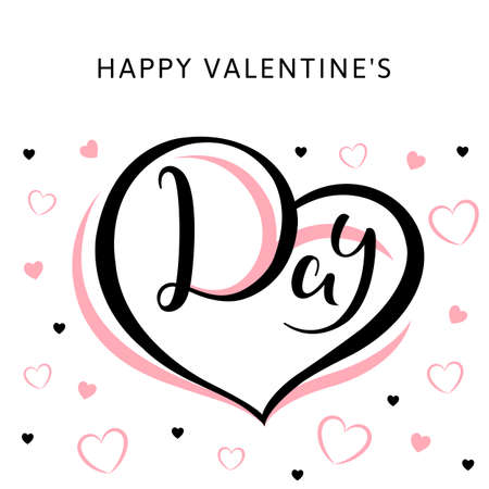 Happy Valentines Day text on a white background with pink and black hearts. Vector illustration for greeting card