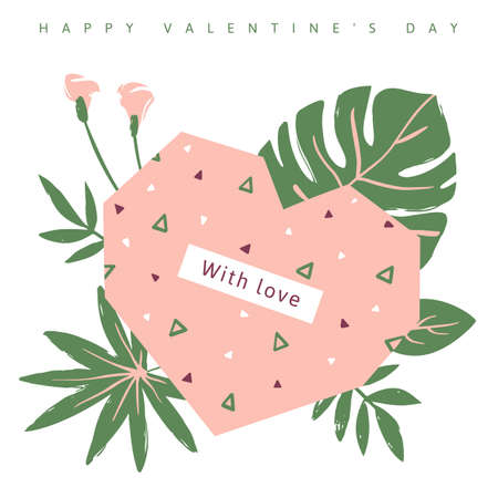 Pink heart with colorful triangles inside, on the background of green tropical leaves. Vector illustration for Valentine's day greeting card