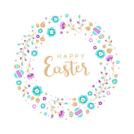 Easter wreath with Easter eggs, flowers, leaves and branches on white background. Decorative frame with gold elements. Unique design for your greeting cards. Vector illustration in modern style. Иллюстрация