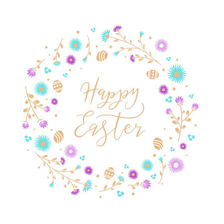 Easter wreath with Easter eggs, flowers, leaves and branches on white background. Decorative frame with gold elements. Unique design for your greeting cards. Vector illustration in modern style. Ilustração