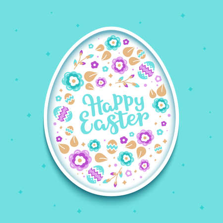 Happy Easter greeting card. Stylized easter egg from colorful leaves and flowers on a light blue background Ilustração