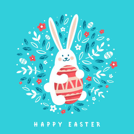 Cute Bunny with Easter egg on floral background. Happy Easter greeting card in cartoon style. Ilustração
