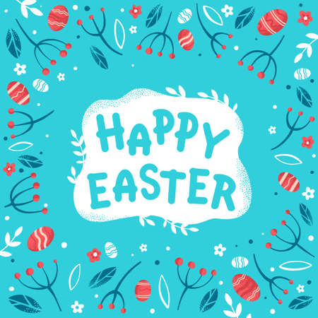 Happy Easter greeting card. Easter eggs, flowers, berries and leaves on light blue background