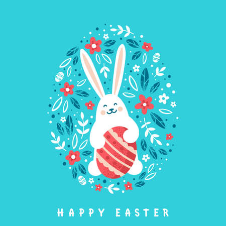 Cute Bunny with red Easter egg on floral background. Happy Easter greeting card in cartoon style.
