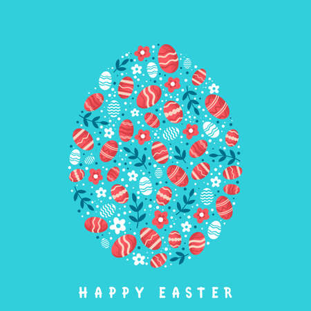 Stylized Easter egg on light blue background.. Happy Easter greeting card.