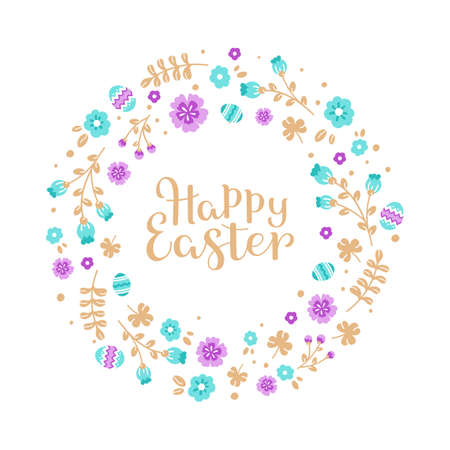 Easter wreath with Easter eggs, flowers, leaves and branches on white background. Decorative frame with gold elements. Unique design for your greeting cards Ilustração