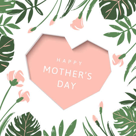 Happy Mothers Day greeting card. Pink heart on tropical leaves and flowers background Ilustração