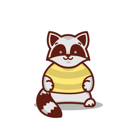 A cartoon raccoon with a striped t-shirt Ilustração