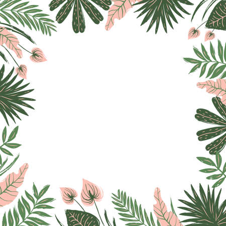 Frame of tropical leaves and flowers. Unique design of greeting card template