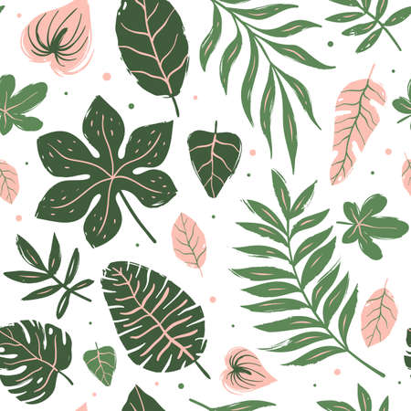 Seamless pattern of tropical leaves. Hand drawn vector Illustration