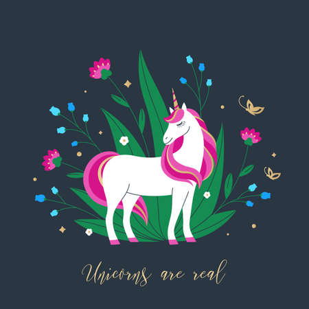 Magic unicorn on the background of leaves and colorful flowers. Unique art for t-shirts, fashion design, gift products