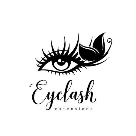 Eyelash extension logo. Makeup with black butterfly. Vector illustration in a modern style Иллюстрация