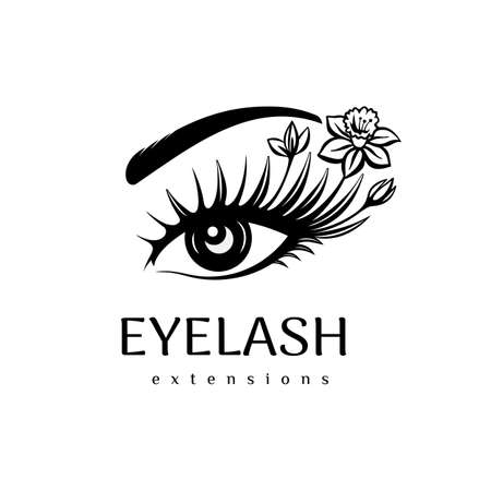 Eyelash extension logo. Makeup with flowers. Vector illustration in a modern style Ilustração