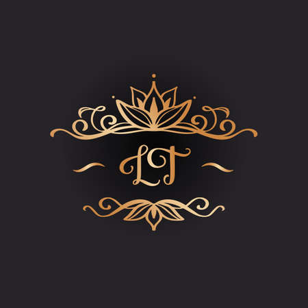 Wedding logo in vintage style. Luxury Frame with Gold Ornament Иллюстрация