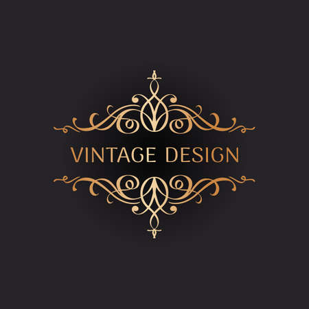 Wedding logo in vintage style. Luxury Frame with Gold Ornament Illustration