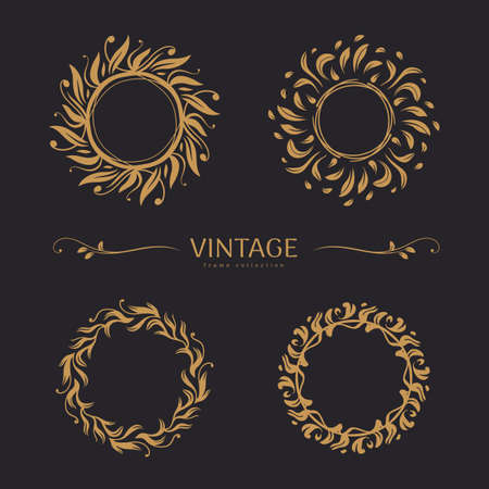 Set of round vintage frames with ornaments of leaves