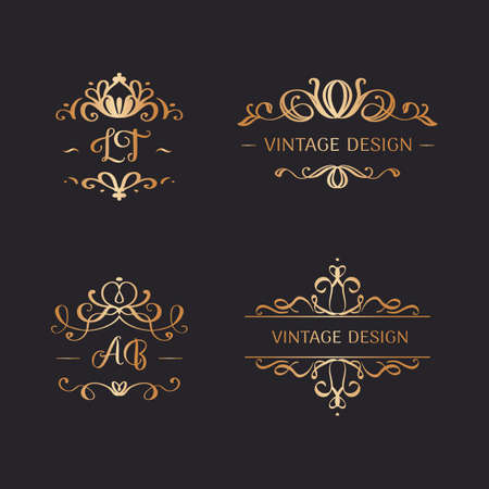 Set of wedding logos in vintage style. Luxury Frames with Gold Ornament Çizim