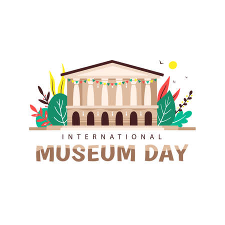 Vector illustration of International Museum Day. The building in the classical style on the background of colorful leaves