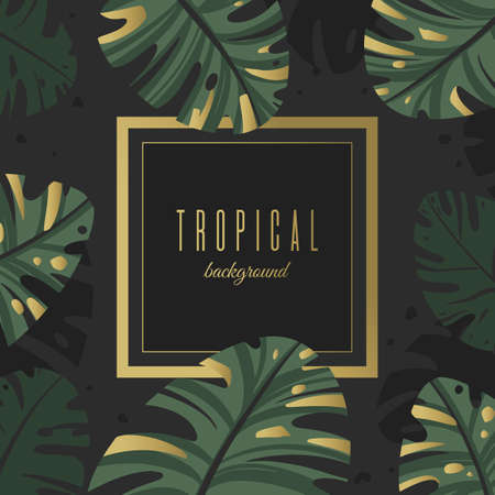Background of tropical leaves with gold decor. Unique design for greeting card or invitation Ilustração