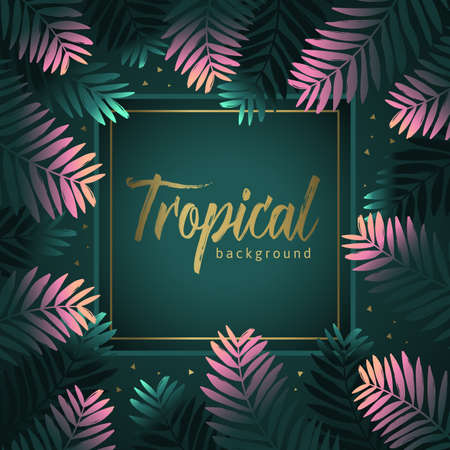 Background of pink and green tropical leaves. Unique design for greeting card or invitation