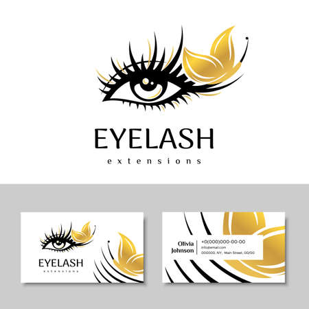 Branding for salon eyelash extension, shop cosmetic products, lashmaker, stylist. Logo and business card. Makeup with Golden butterfly. Vector illustration in a modern style