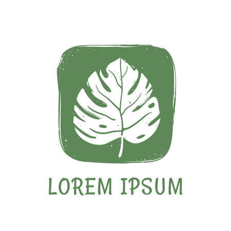 Logo for organic shop and natural cosmetics. Tropical leaf in hand drawn style on green background