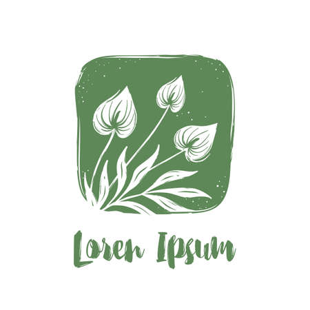 Logo for organic shop and natural cosmetics. Tropical flowers in hand drawn style on green background