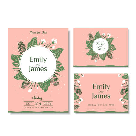 Wedding invitation cards with tropical leaves and flowers. Vector illustration in hand drawn style