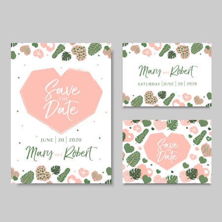 Wedding invitation cards with hearts and tropical leaves. Vector illustration in hand drawn style