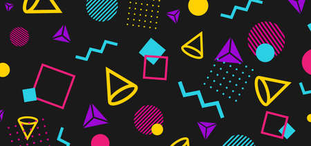 Abstract 80 style background with colorful geometric shapes. Illustration for hipsters Memphis style  イラスト・ベクター素材
