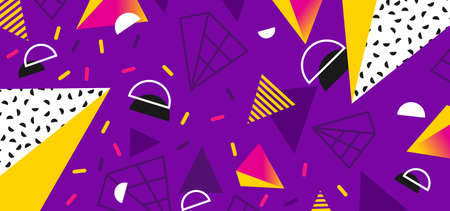 Bright background in the style of the 80s with multicolored geometric shapes Illustration