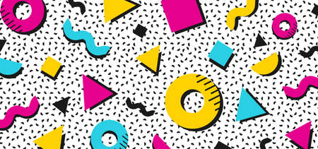 Background in the style of the 80s with multicolored geometric shapes. Illustration for hipsters Memphis style 矢量图像