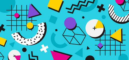 Abstract multi-colored shapes on a blue background. Illustration for hipsters Memphis style