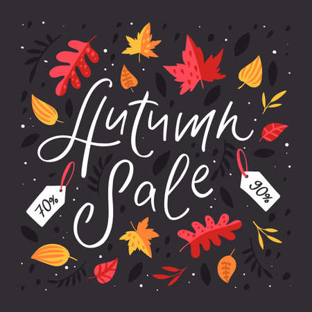 Autumn Sale Background with Falling Autumn Leaves and price tags. Vector illustration in modern style