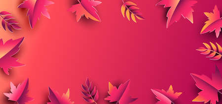 Floral autumn background with paper leaves. Design for fall season sale banner, poster or thanksgiving day greeting card, festival invitation