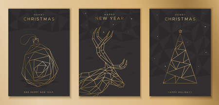 Set of Christmas cards with deer, toy and spruce. Design in geometric style.