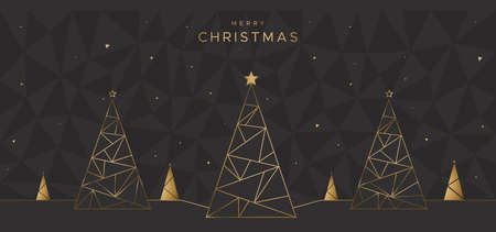 Geometric design with Christmas trees on the black polygonal background. Unique design for poster, greeting card, flyer  イラスト・ベクター素材