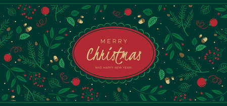 Christmas background with pine branches, berries, cones. Unique holiday design, for banner, poster or invitation  イラスト・ベクター素材