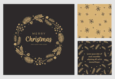 Merry Christmas and Happy New Year greeting card. Wreath with gold leaves, pine branches and fir cones. Round frame for winter design on black background. Vector illustration in modern style