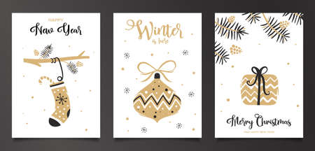 Set of Christmas cards with socks, toy and gift. Unique design in white and gold colors Иллюстрация