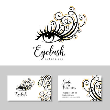 Branding for salon eyelash extension, shop cosmetic products, lashmaker, stylist. Logo and business card. Makeup with gold curls
