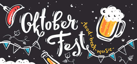 Background with hand lettering Oktoberfest for beer festival. Vector illustration with sausage, beer mug and white text Illusztráció
