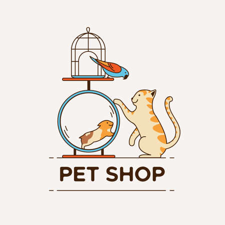 Logo for pet shop, veterinary clinic, animal shelter, designed in a modern style vector lines.  イラスト・ベクター素材