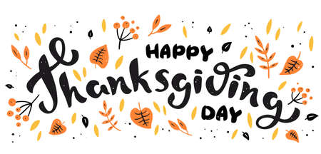 Background with autumn leaves and hand drawn lettering Happy Thanksgiving Day Illustration