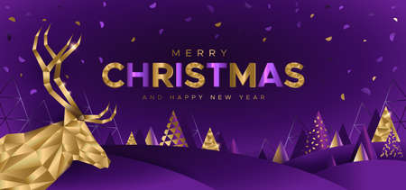 Festive background with deer and Christmas trees in geometric style. Unique design for banner, poster or invitation 矢量图像