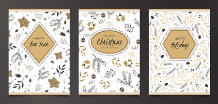 Set of Christmas cards with berries, pine branches and fir cones. Unique design in black and gold colors